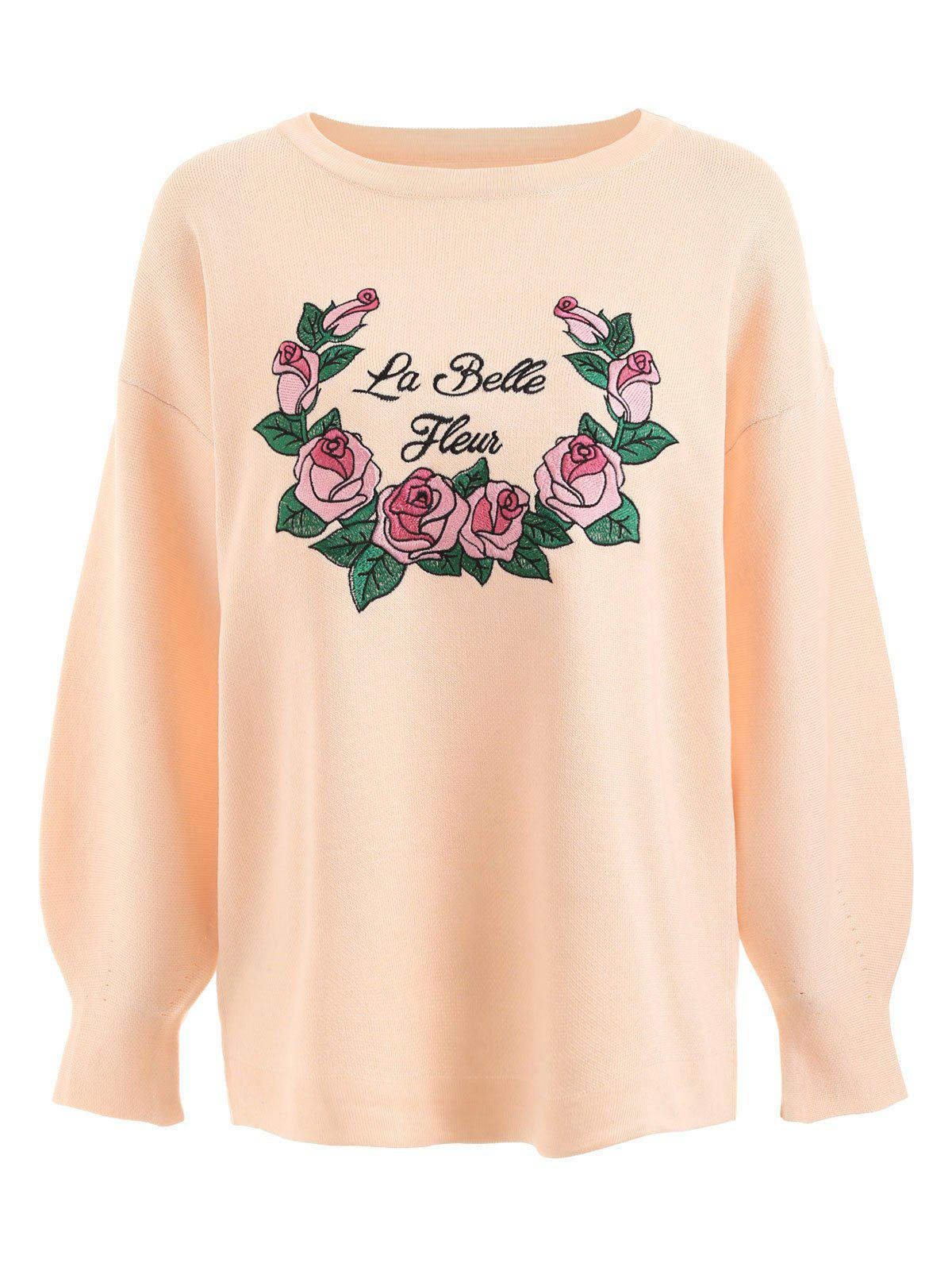 Plus Size Letter Floral Embroidered Sweater - PINKBEIGE 5XL