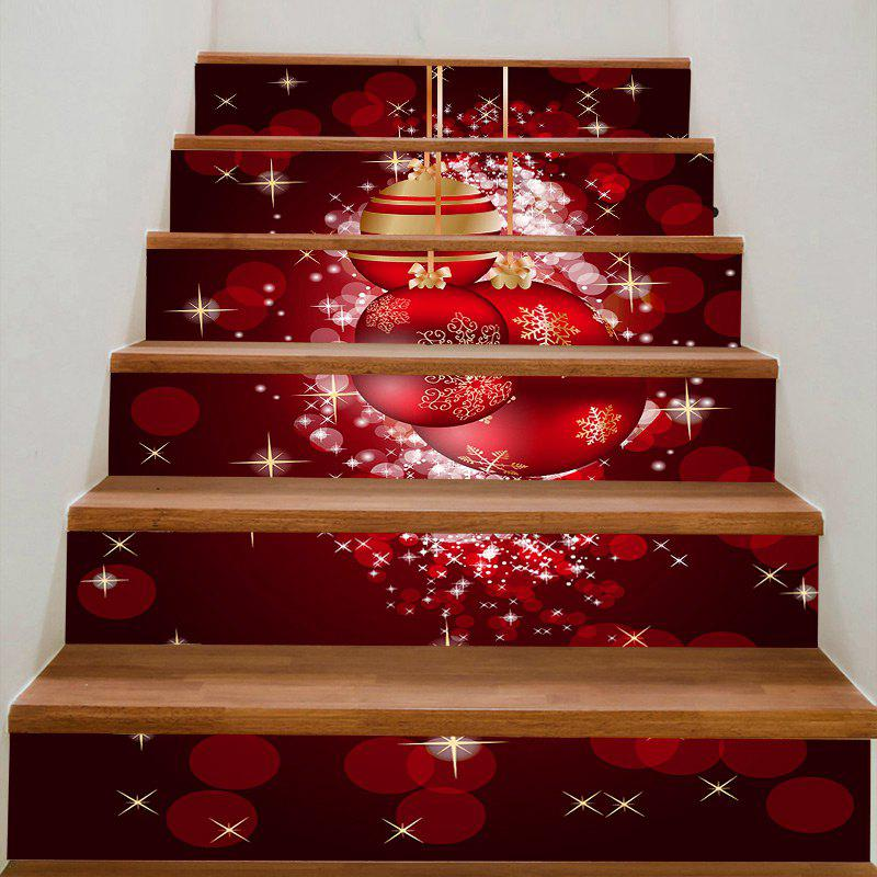 DIY Red Christmas Balls Printed Decorative Stair Stickers - RED 100*18CM*6PCS