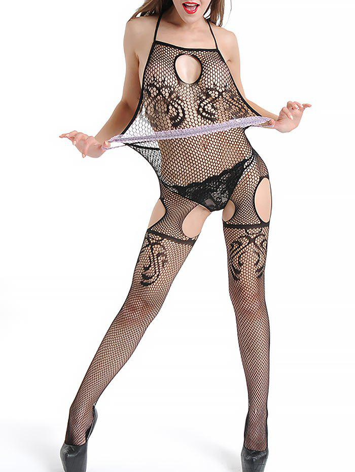 Backless Open Crotch Suspender Fishnet Bodystockings - BLACK ONE SIZE