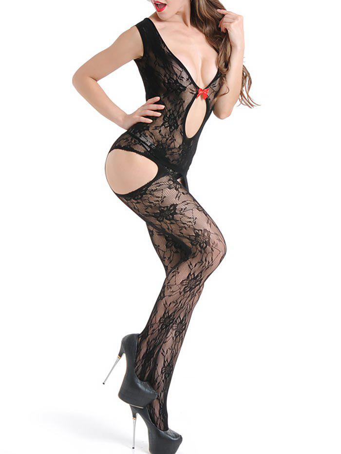 Low Cut Open Crotch Suspender Bodystockings - BLACK ONE SIZE