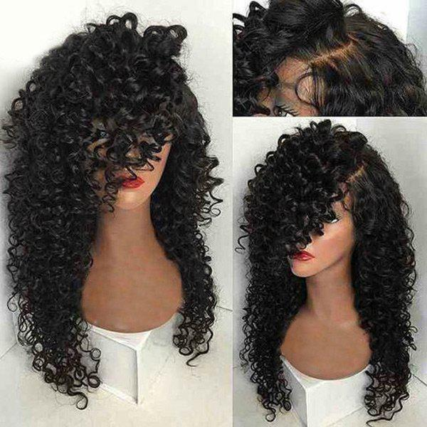 Long Side Part Kinky Curly Synthetic Wig long free part fluffy kinky curly synthetic lace front wig