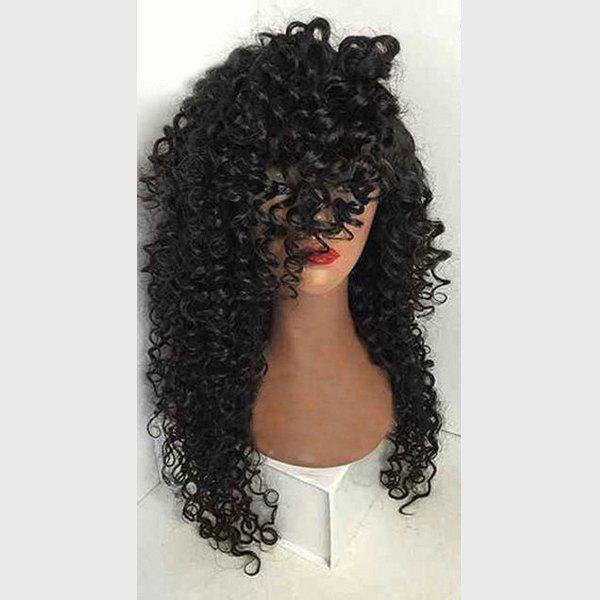 Long Side Part Kinky Curly Synthetic Wig - NATURAL BLACK