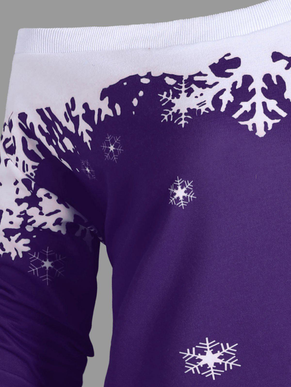 Plus Size Skew Neck Christmas Snowflake Sweatshirt - PURPLE 2XL