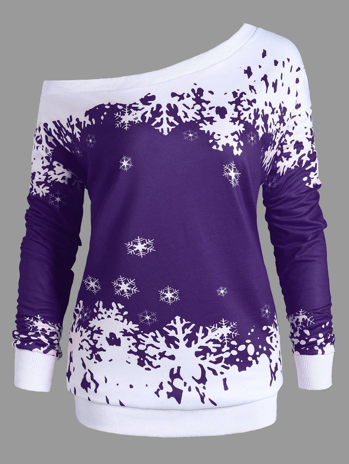Plus Size Skew Neck Christmas Snowflake Sweatshirt - PURPLE 4XL