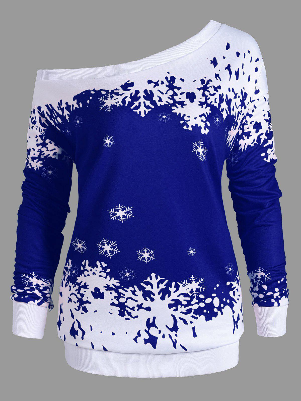 Plus Size Skew Neck Christmas Snowflake Sweatshirt - BLUE 5XL