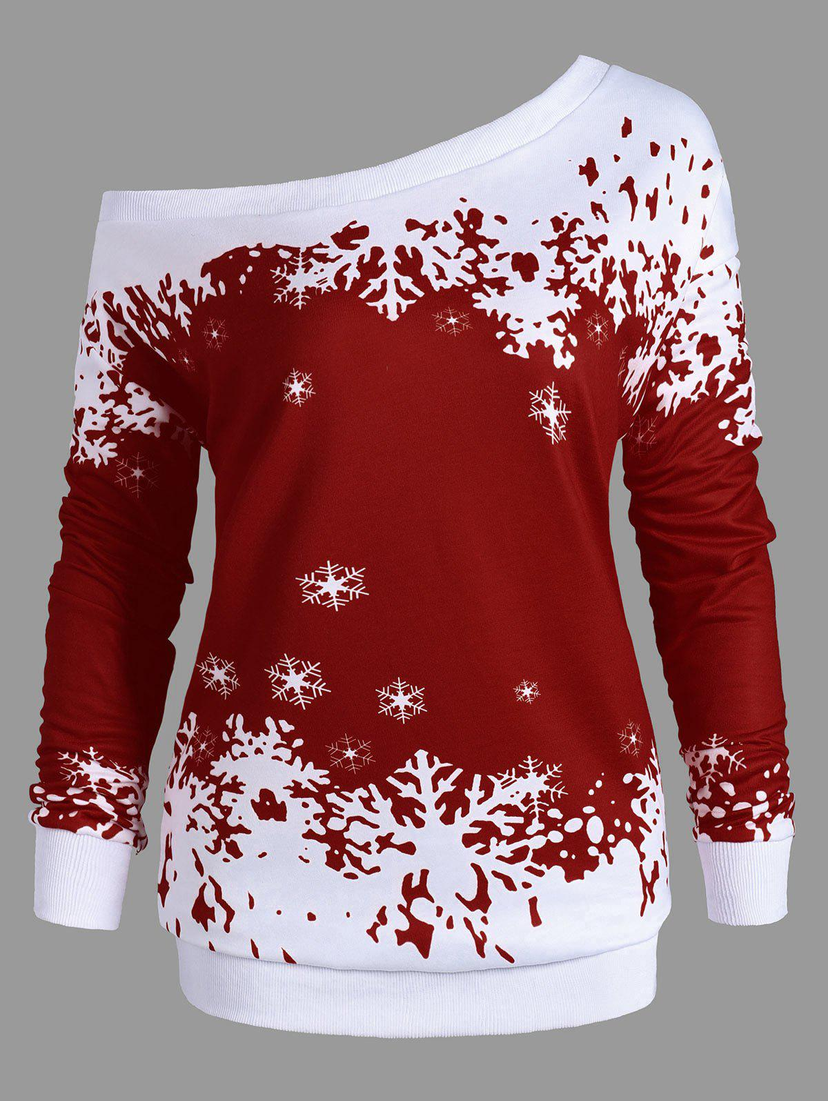 Plus Size Skew Neck Christmas Snowflake Sweatshirt - WINE RED XL