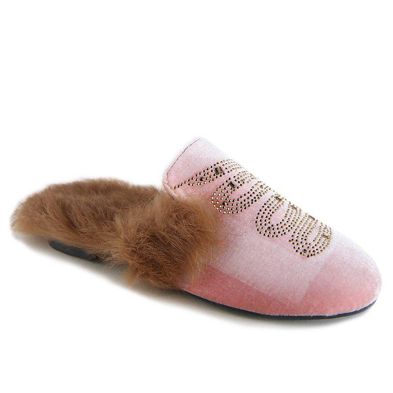 Slight Talon paillettes Velvet Mules Chaussures - Rose 39