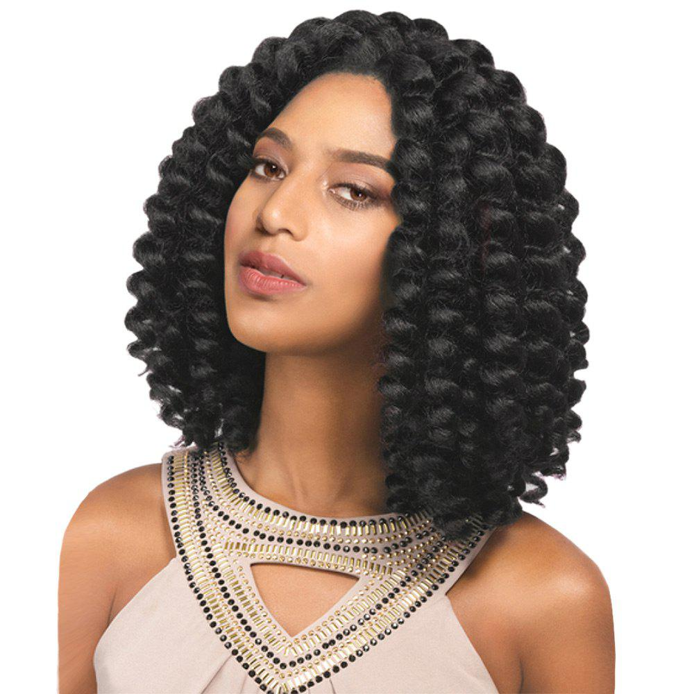 Medium Inclined Bang Twist Jumbo Braided Synthetic Wig - BLACK