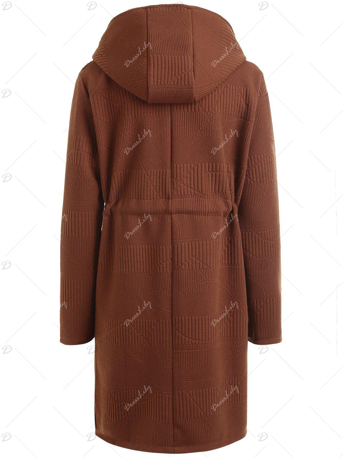 Drawstring Waist Plus Size Long Hooded Coat - COFFEE 5XL