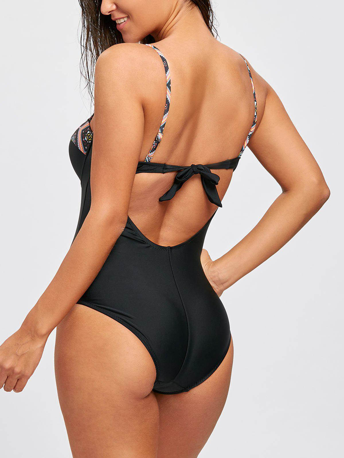 Backless Spaghetti Strap Underwire Swimsuit - BLACK L