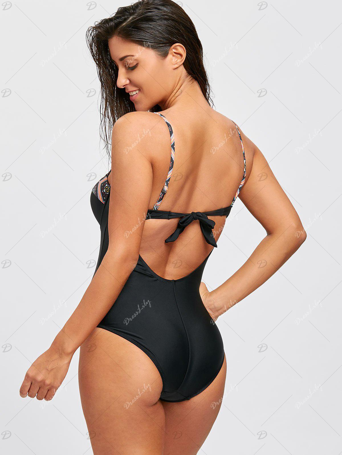 Backless Spaghetti Strap Underwire Swimsuit - BLACK M