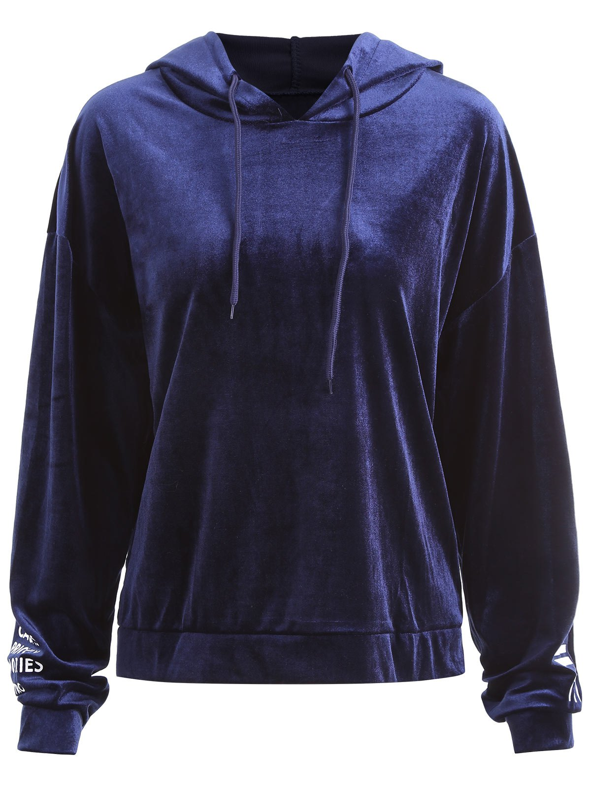 Letter On Sleeves Plus Size Velvet Hoodie - ROYAL 4XL