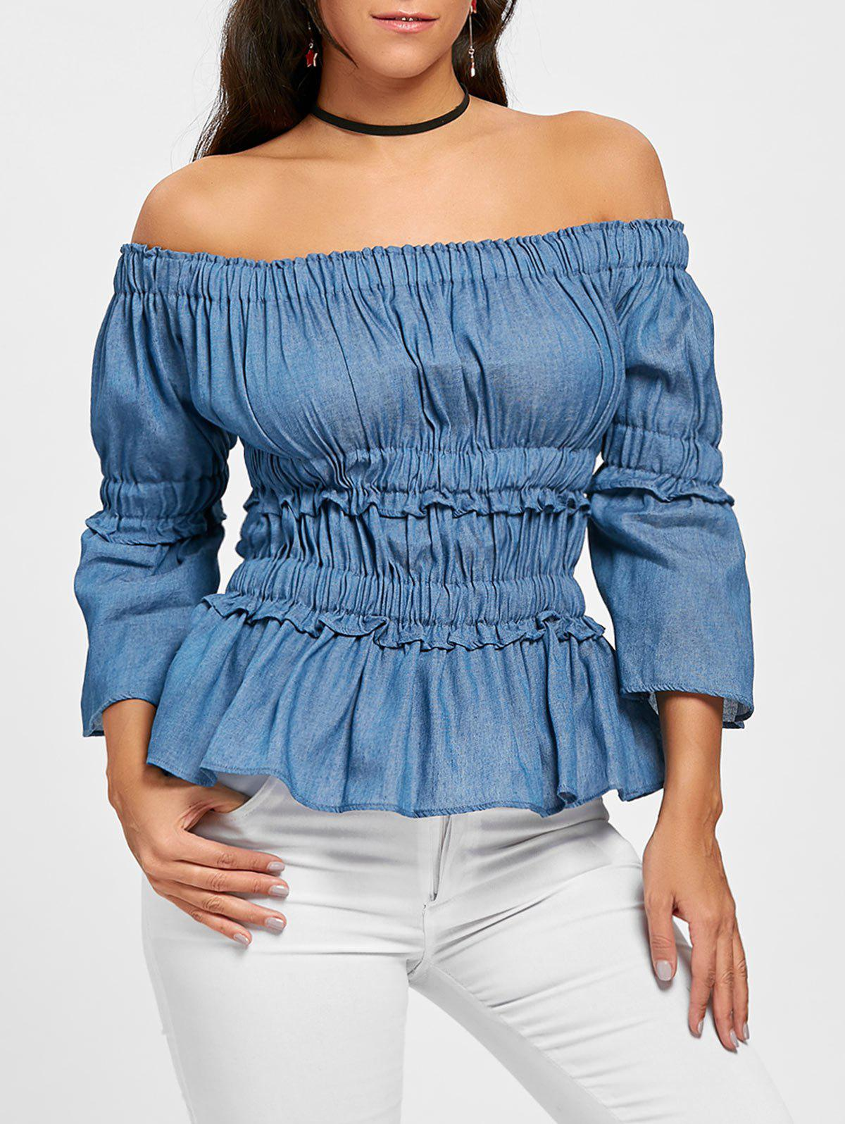 Ruched Off The Shoulder Denim Top mesh open shoulder side ruched lattice top