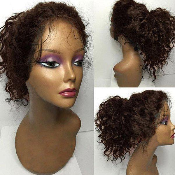 Free Part Long Fluffy Curly Lace Front Human Hair Wig - BROWN