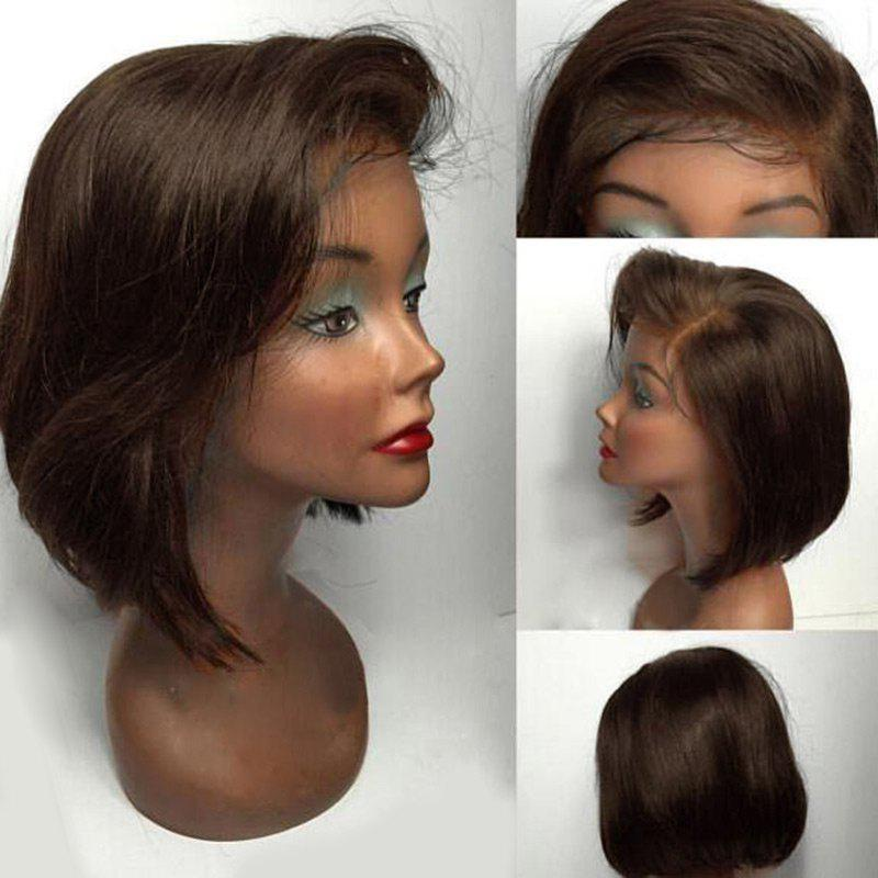 Short Side Part Straight Bob Human Hair Lace Front Wig - BROWN