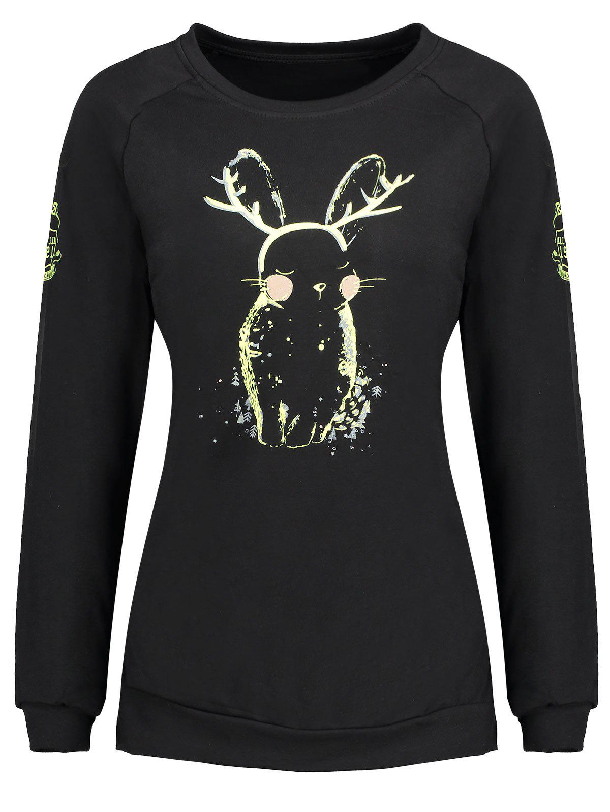 Plus Size Bunny Print Sweatshirt - BLACK 5XL