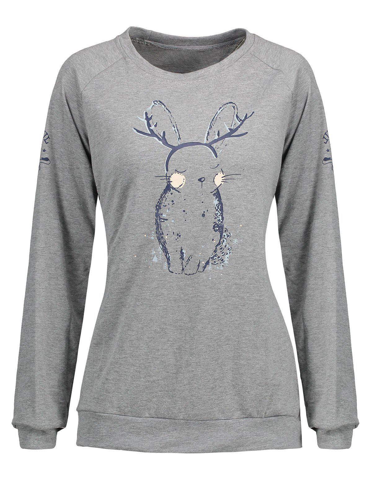 Plus Size Bunny Print Sweatshirt - GRAY 5XL