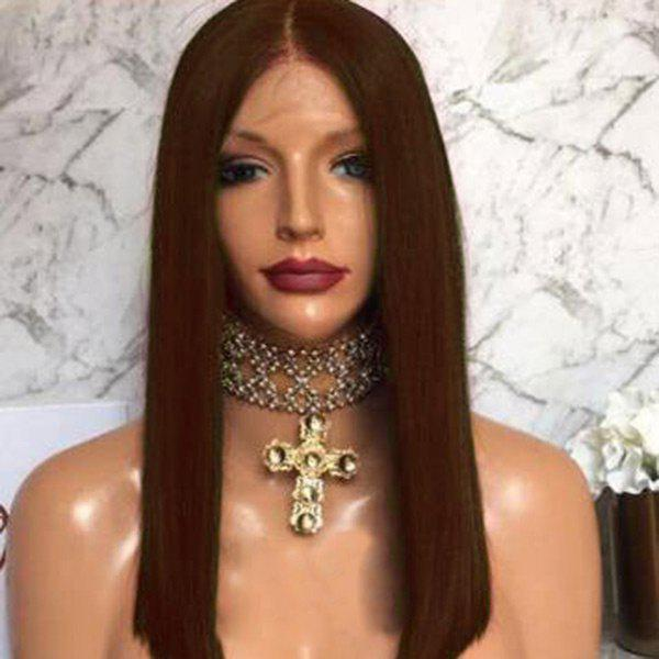 Free Part Long Straight Bob Lace Front Human Hair Wig - BROWN