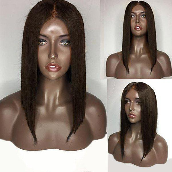 Center Part Medium Straight Bob Lace Front Human Hair Wig - BROWN