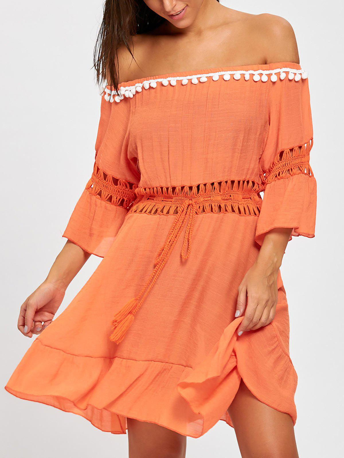 Off Shoulder Summer Flounce Cover-up Dress - ORANGE RED ONE SIZE