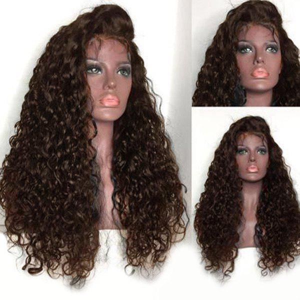 Free Part Shaggy Long Water Wave Lace Front Human Hair Wig - BROWN