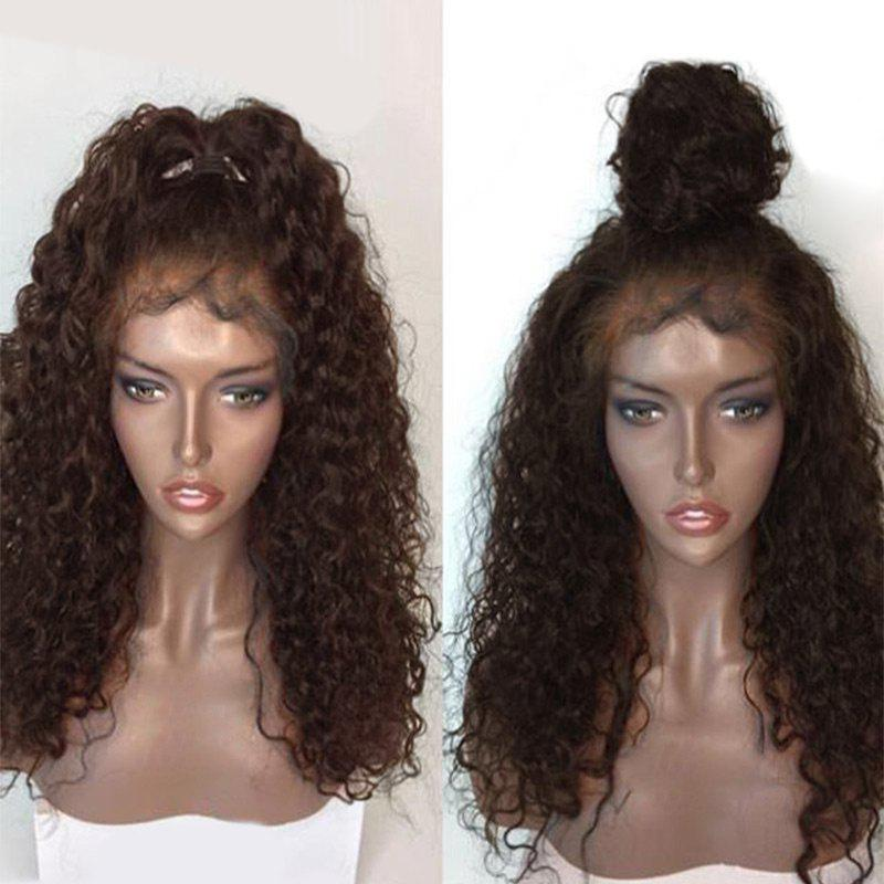 Free Part Shaggy Long Natural Wave Lace Front Human Hair Wig - BROWN