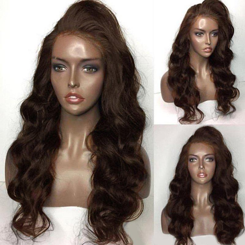 Side Part Shaggy Long Body Wave Lace Front Human Hair Wig - BROWN