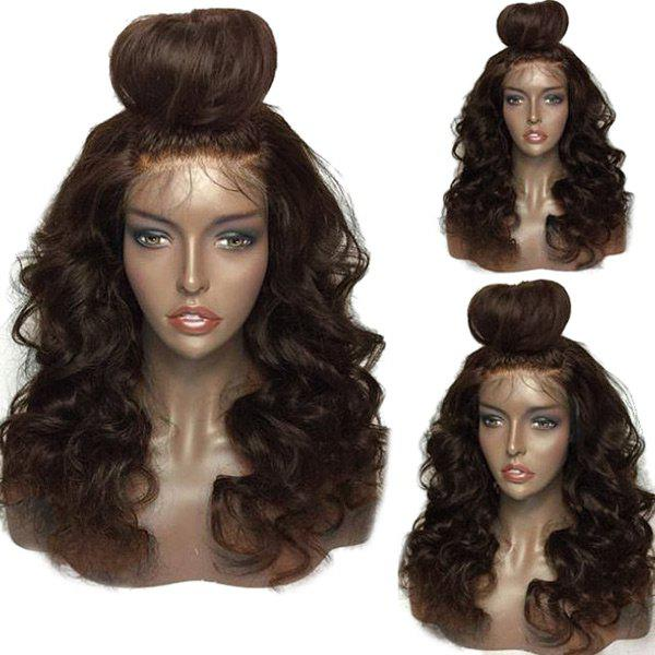 Shaggy Free Part Long Loose Body Wave Lace Front Human Hair Wig - BROWN