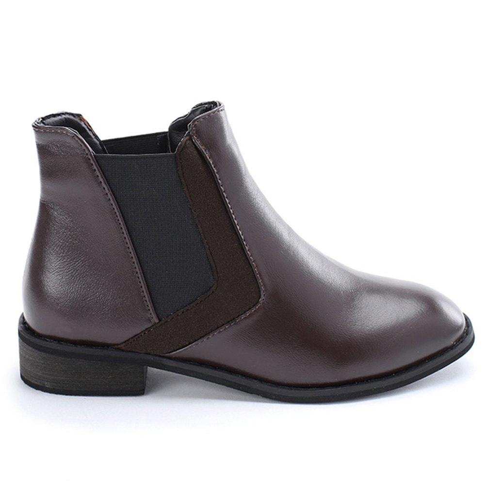 Stacked Heel Chelsea Ankle Boots - COFFEE 35