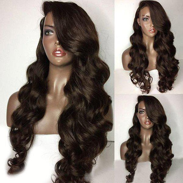 Long Deep Side Part Loose Body Wave Lace Front Human Hair Wig - BROWN