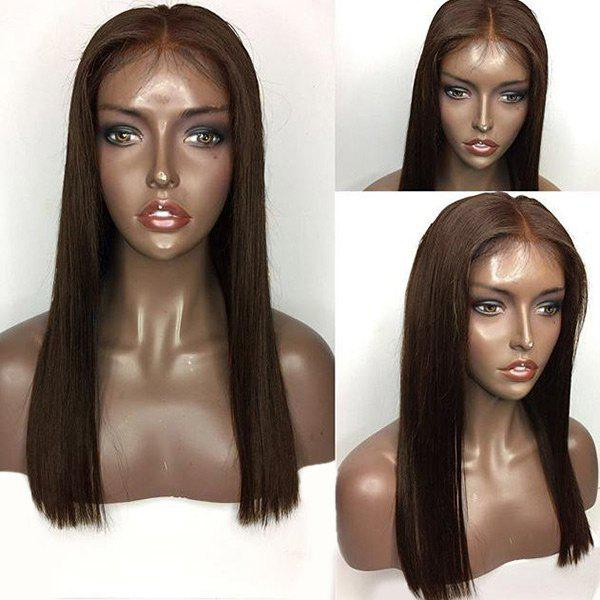 Center Parting Long Straight Lace Front Human Hair Wig - BROWN