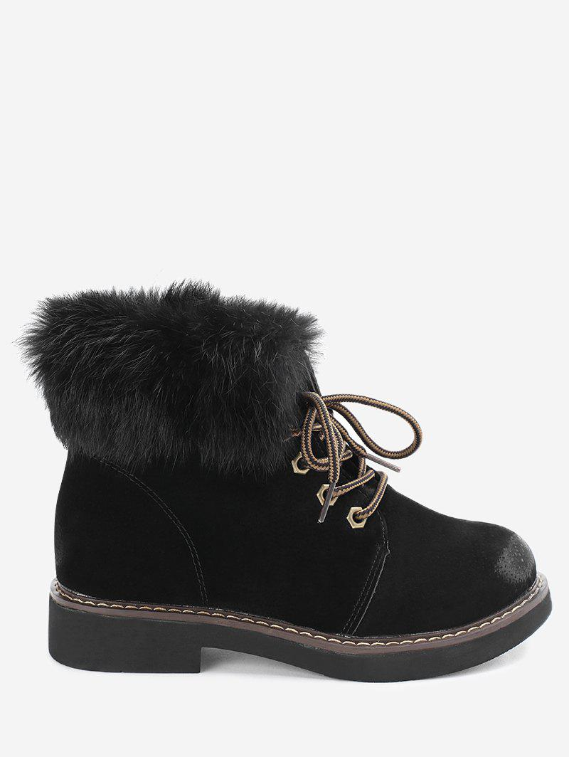 Low Heel Lace Up Fur Boots - BLACK 38