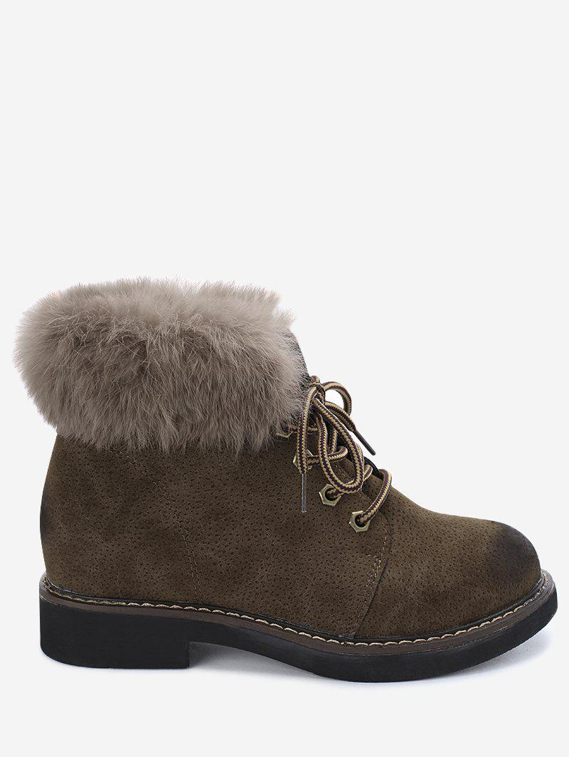 Low Heel Lace Up Fur Boots - KHAKI 36