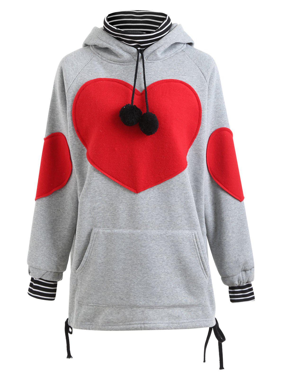 Plus Size Heart Graphic Tunic Hoodie - GRAY 3XL