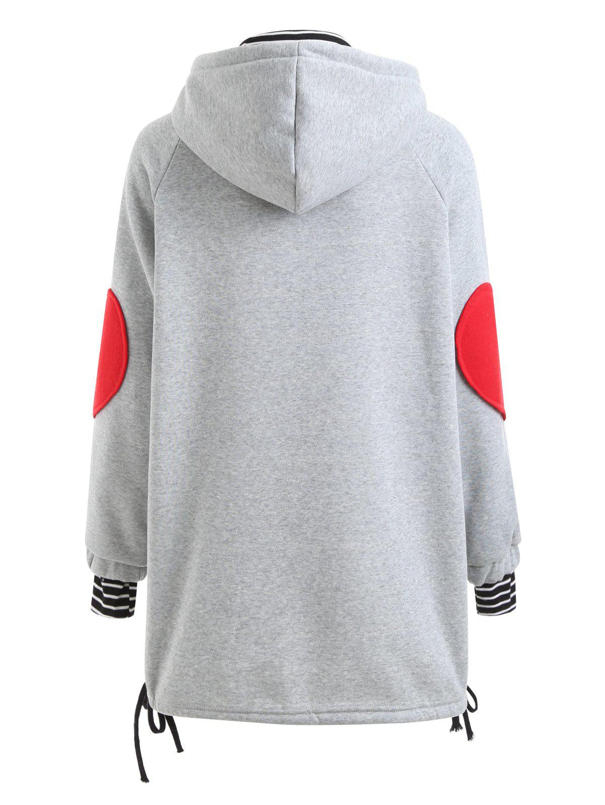 Plus Size Heart Graphic Tunic Hoodie - GRAY 4XL
