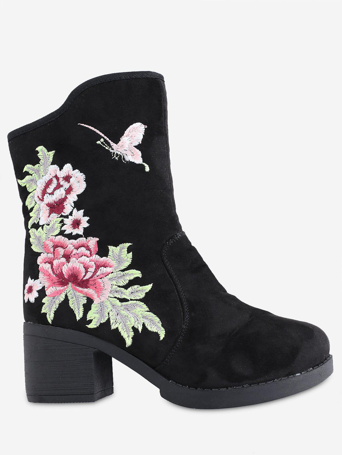 Mid Heel Floral Embroidery Boots - BLACK 36