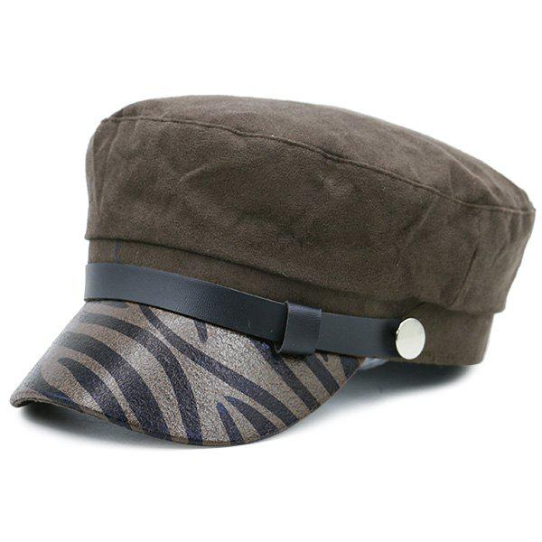 Zebra Stripes Pattern Embellished Military Hat - COFFEE