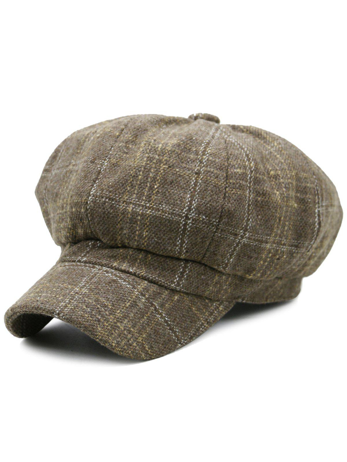 Tartan Pattern Decorated Artificial Wool Beret - KHAKI