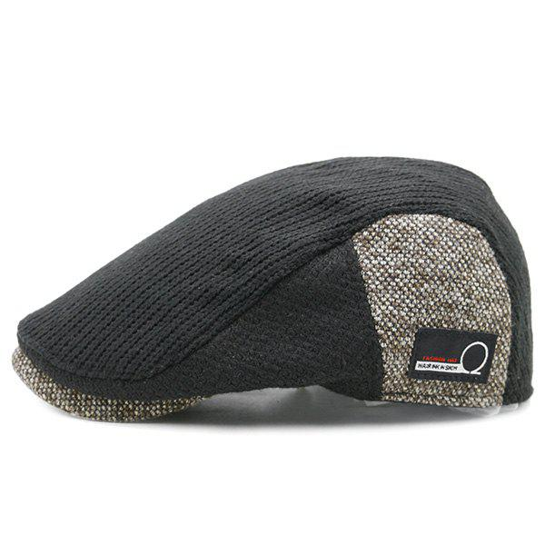 Vintage Letter Label Pattern Knitted Duckbill Hat - BLACK