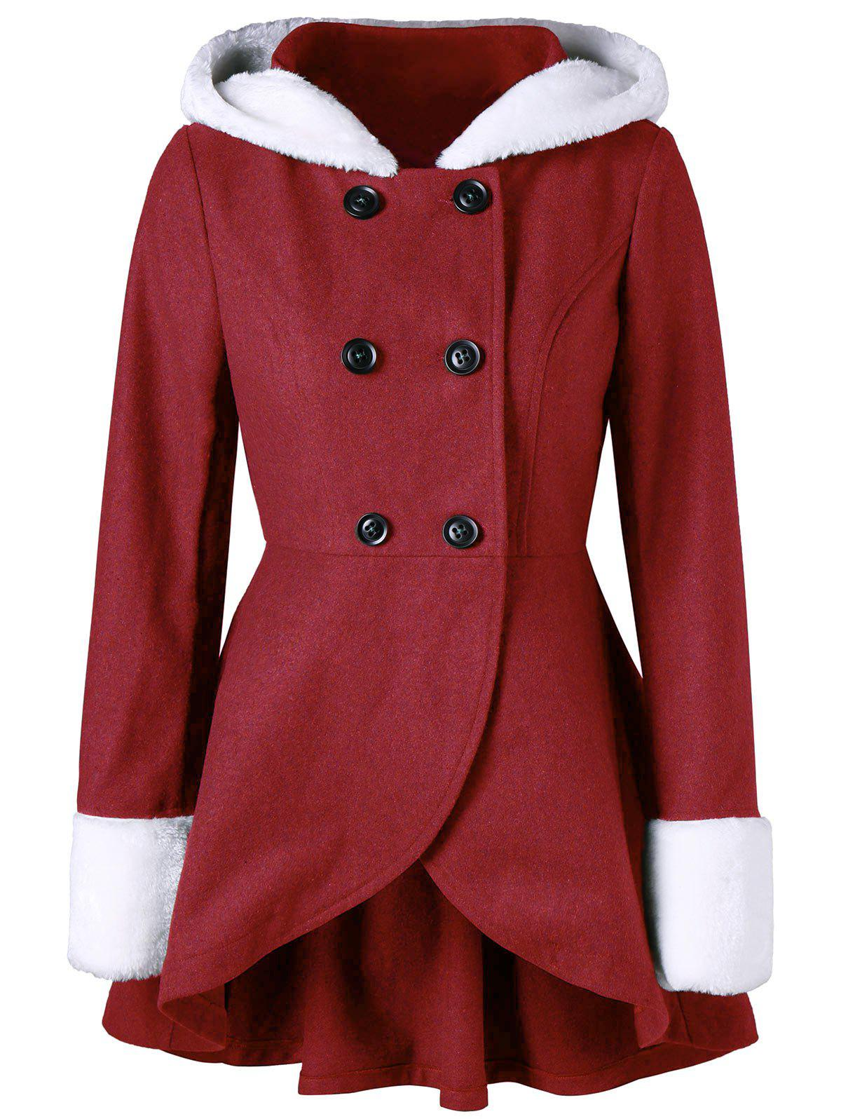 Double Breasted Plush Hooded Coat - RED M