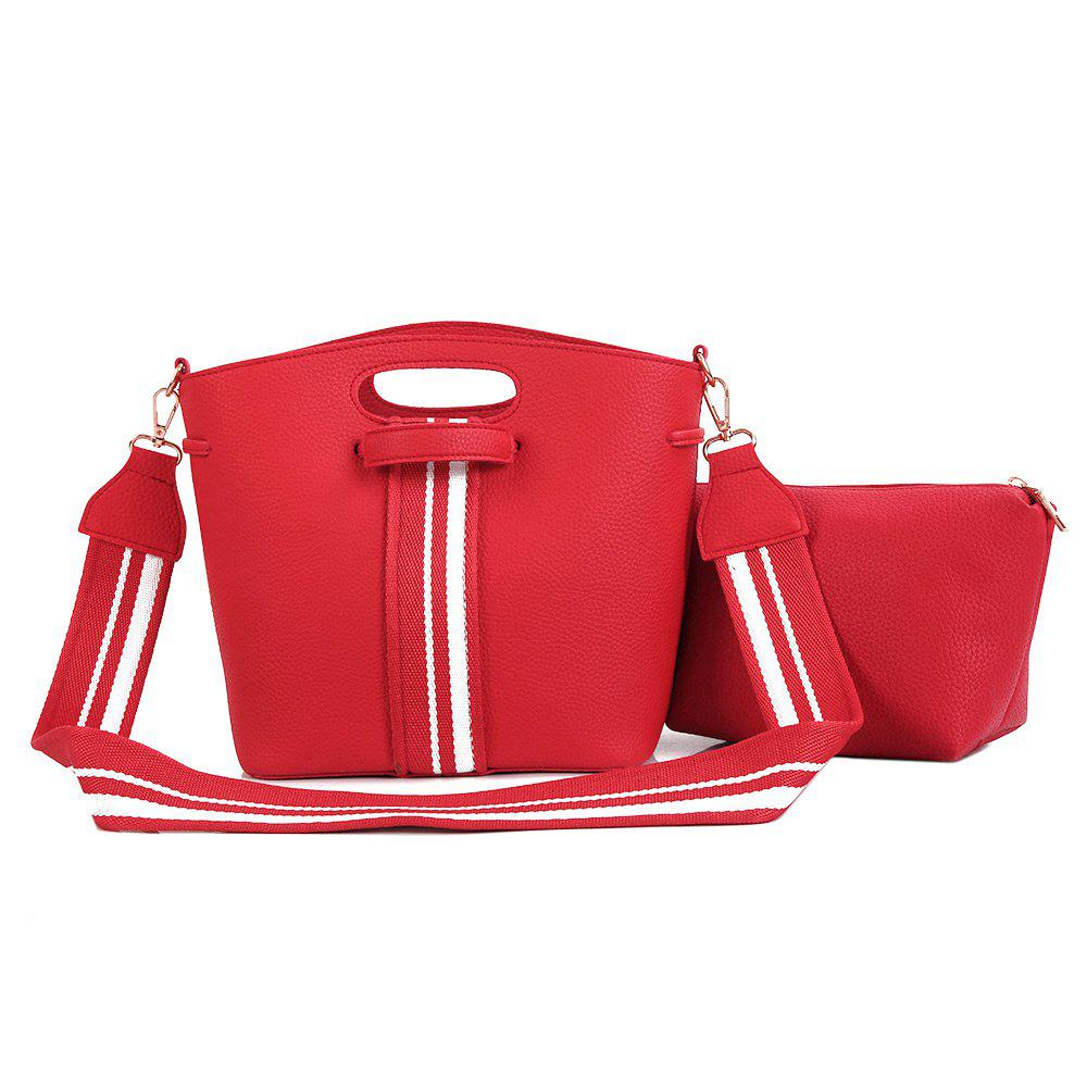 2 Pieces Striped Contrasting Color Handbag Set - RED