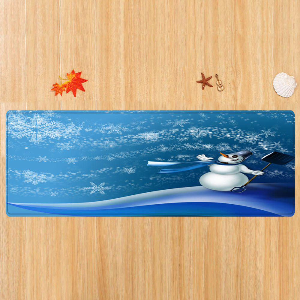 Christmas Snowman Snowflakes Pattern Indoor Outdoor Area Rug - BLUE W24 INCH * L71 INCH