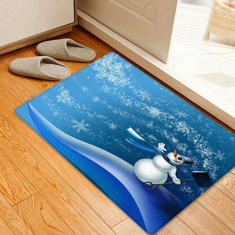 Christmas Snowman Snowflakes Pattern Indoor Outdoor Area Rug - BLUE W16 INCH * L24 INCH