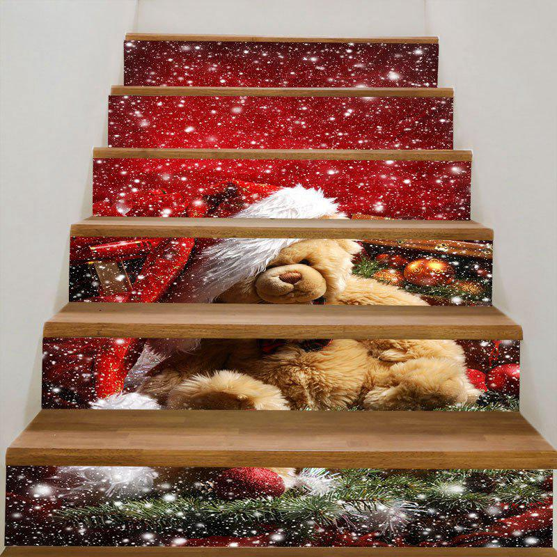 Furry Bear with Christmas Hat Decorative Stair Stickers - COLORFUL 100*18CM*6PCS