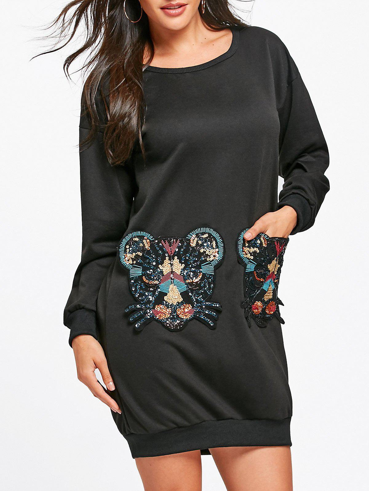 Drop Shoulder Sequined Tiger Sweatshirt Dress - BLACK S