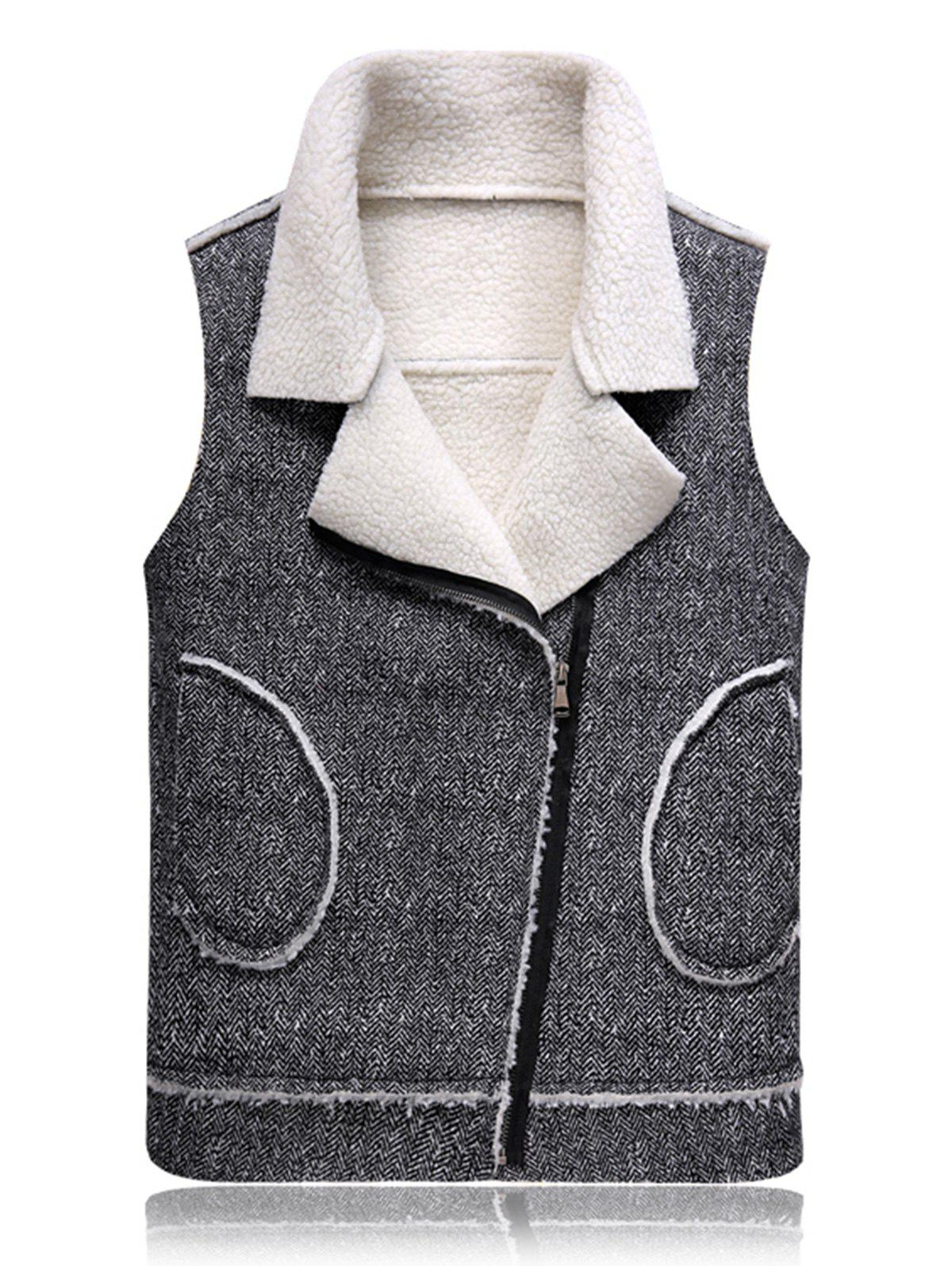 Fleece Oblique Zip Up Waistcoat - BLACK WHITE 2XL