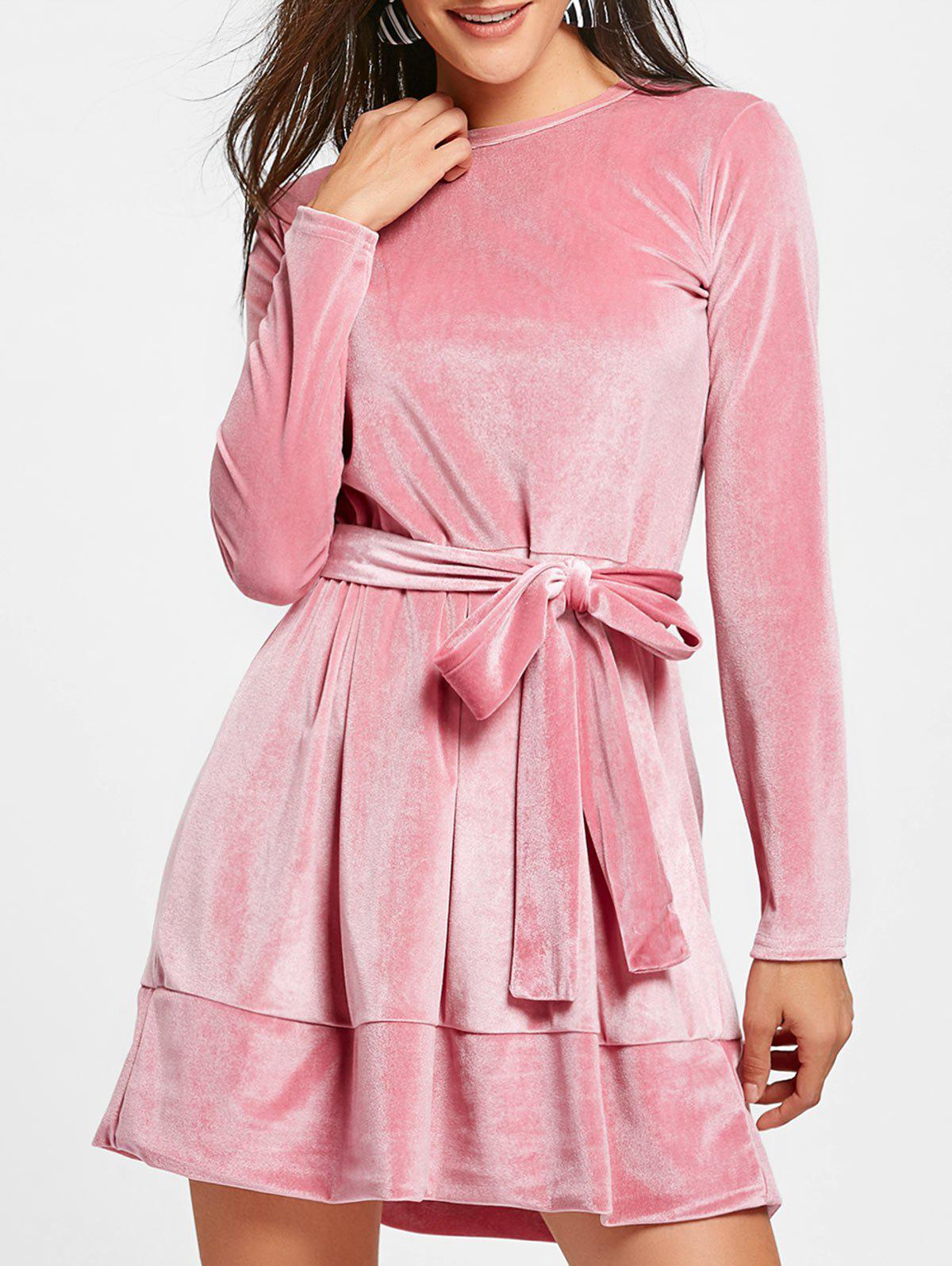 Long Sleeve Velvet Belted Mini Dress - PINK M