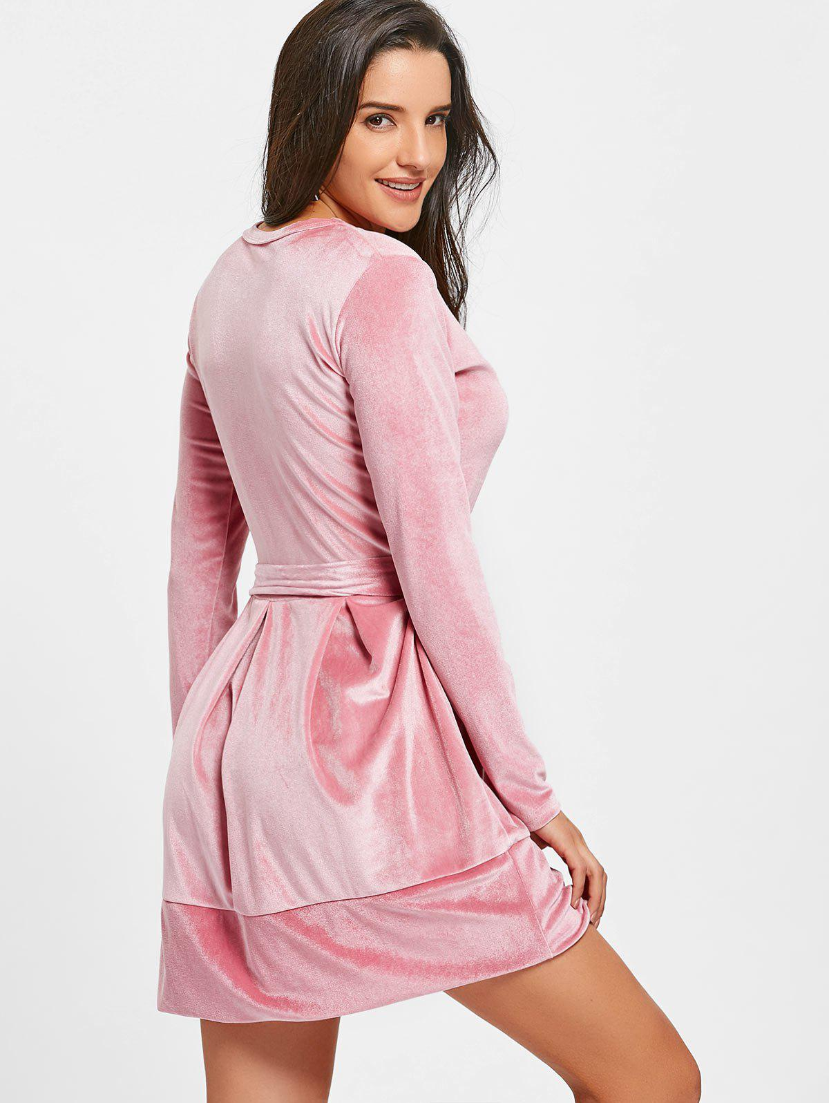 Long Sleeve Velvet Belted Mini Dress - PINK XL