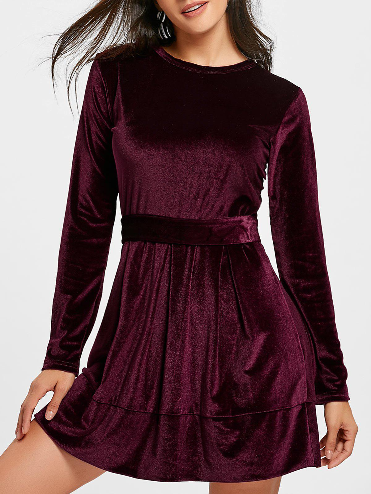 Long Sleeve Velvet Belted Mini Dress - WINE RED L
