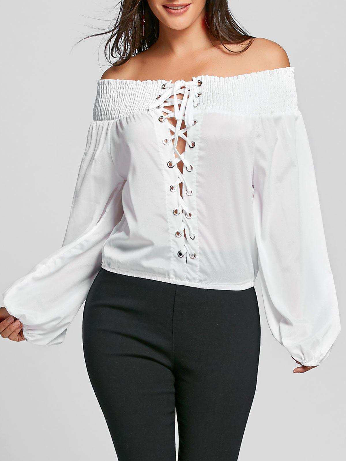 Au large de l'épaule Lace Up Blouse - Blanc L